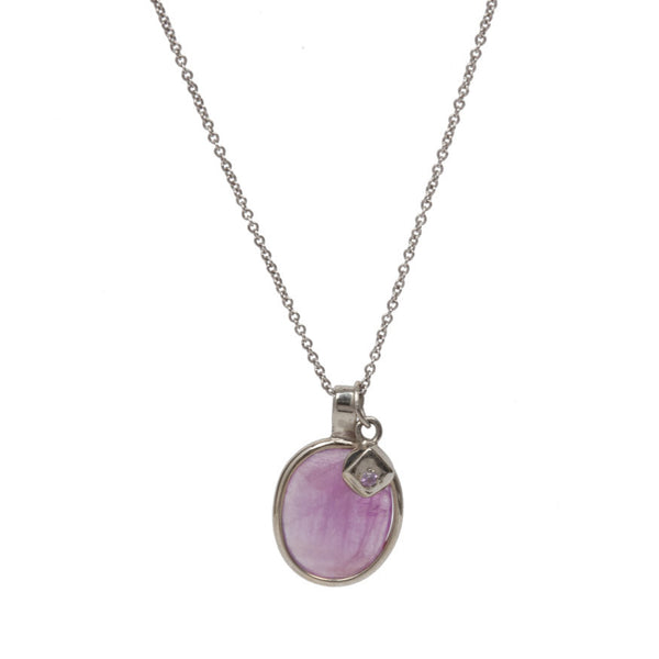 Pink Sapphire Slice Necklace With Charm