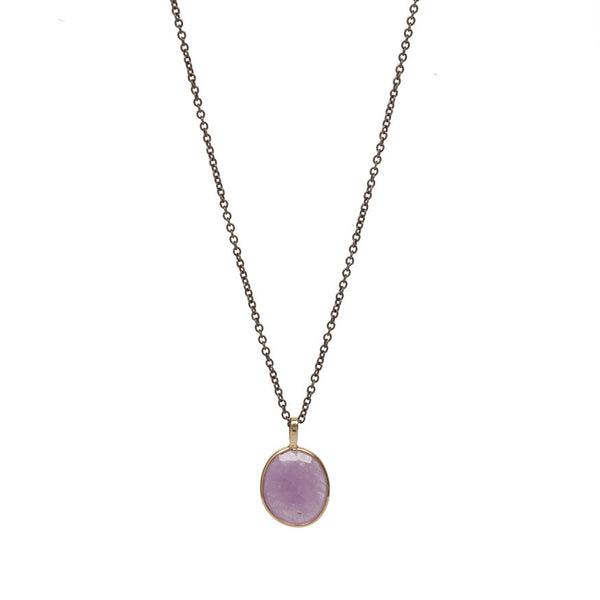 Pink Sapphire Slice Oxidized Chain