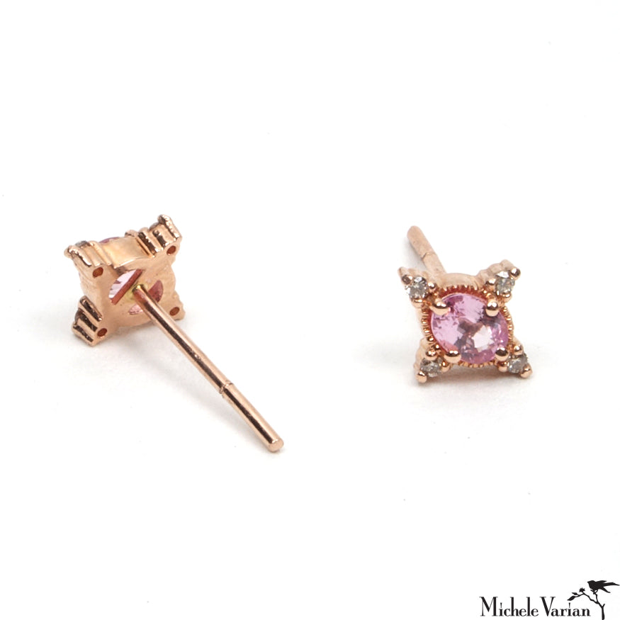 Single Pink Sapphire Rose Gold Stud Earring