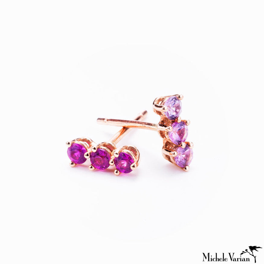 Rose Gold and Pink Sapphires Studs