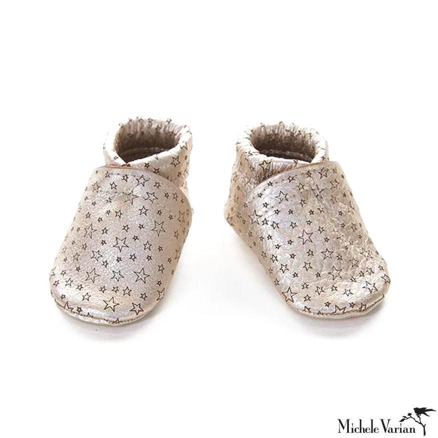 Metallic Silver Star Leather Baby Booties