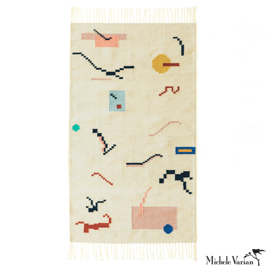 Analog Pattern Woven Wool and Cotton Rug Natural