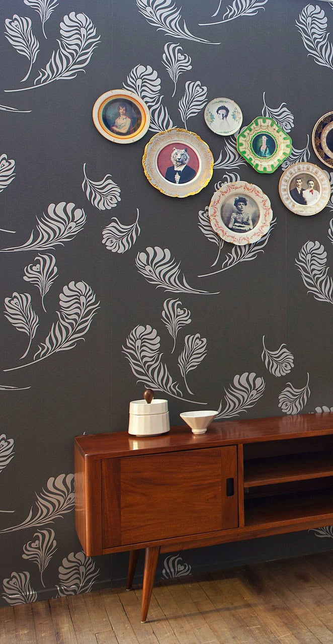 Plume Wallpaper Graphite Metallic Silver