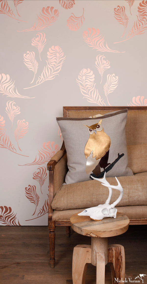 Plume Wallpaper Snow with Metallic Copper