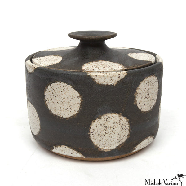 Polka Dot Lidded Stoneware Jar