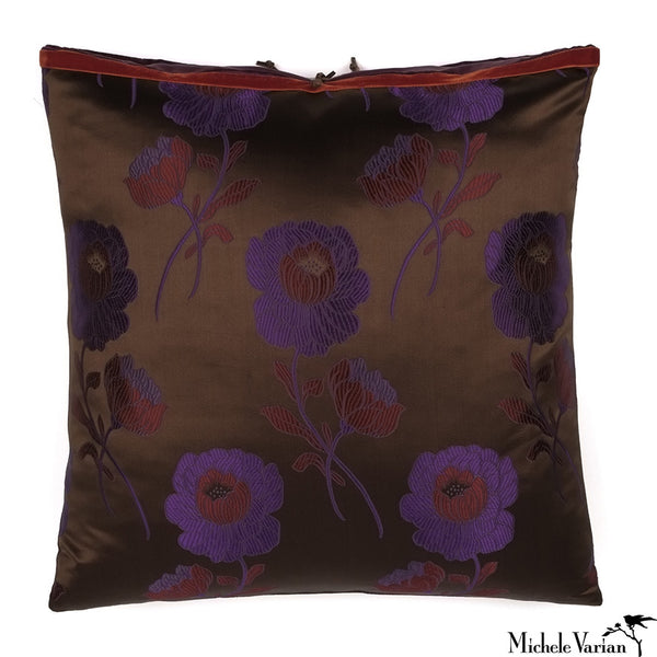 Silk Brocade Poppy Chocolate 20x20