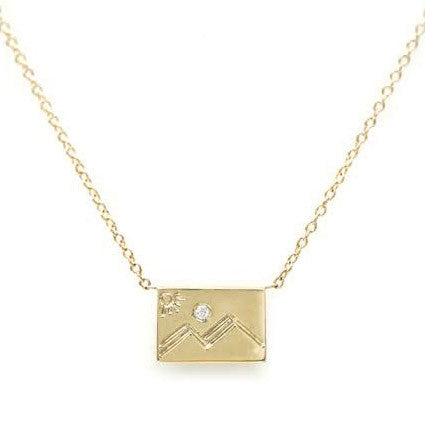 Gold Postcard Necklace Mountain