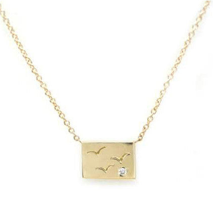 Gold Postcard Necklace Birds