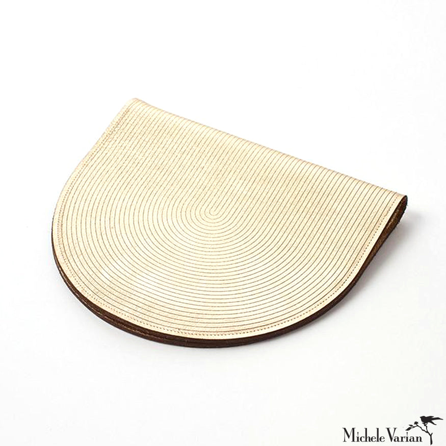 Gold Metallic Leather Crescent Clutch