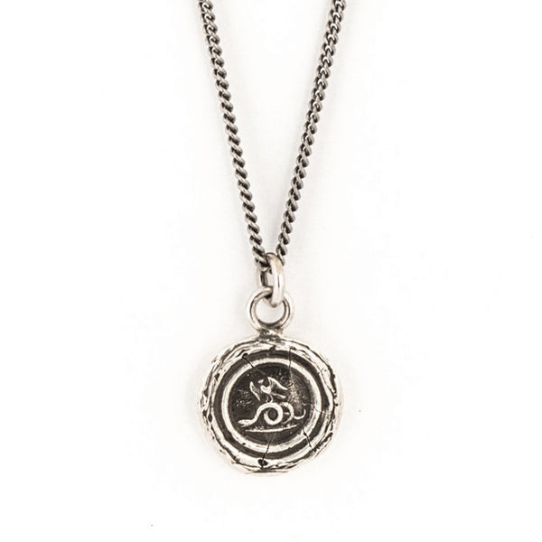 Silver Wax Seal Prevail Necklace