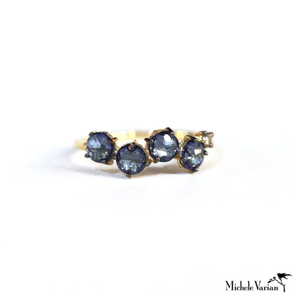 Blue Topaz Cluster Gold Ring