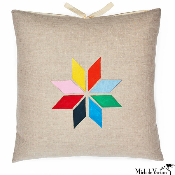 Linen Applique Pillow Quill Multi 22x22