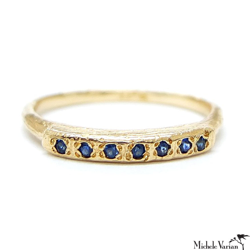 Gold and Seven Sapphire Ring