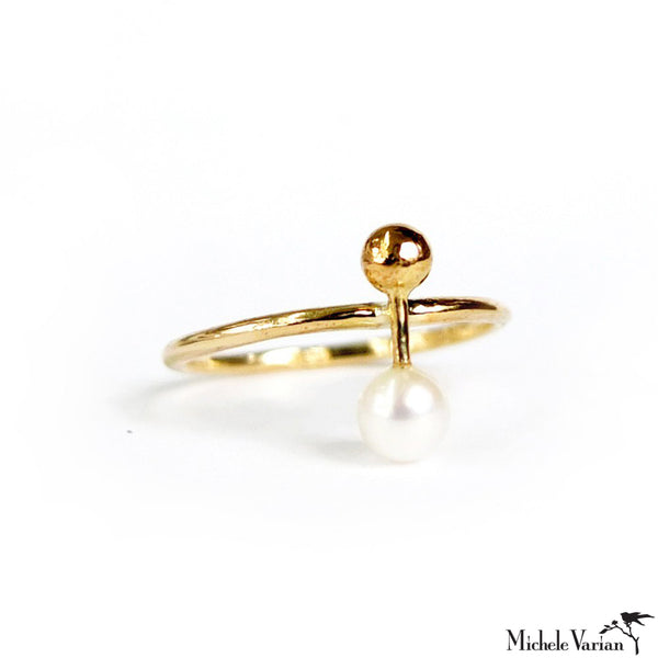 Fresh Water Pearl Motif Gold Ring