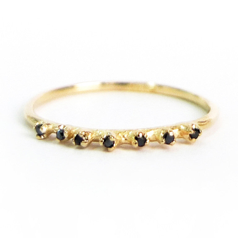 Seven Black Diamond Ring