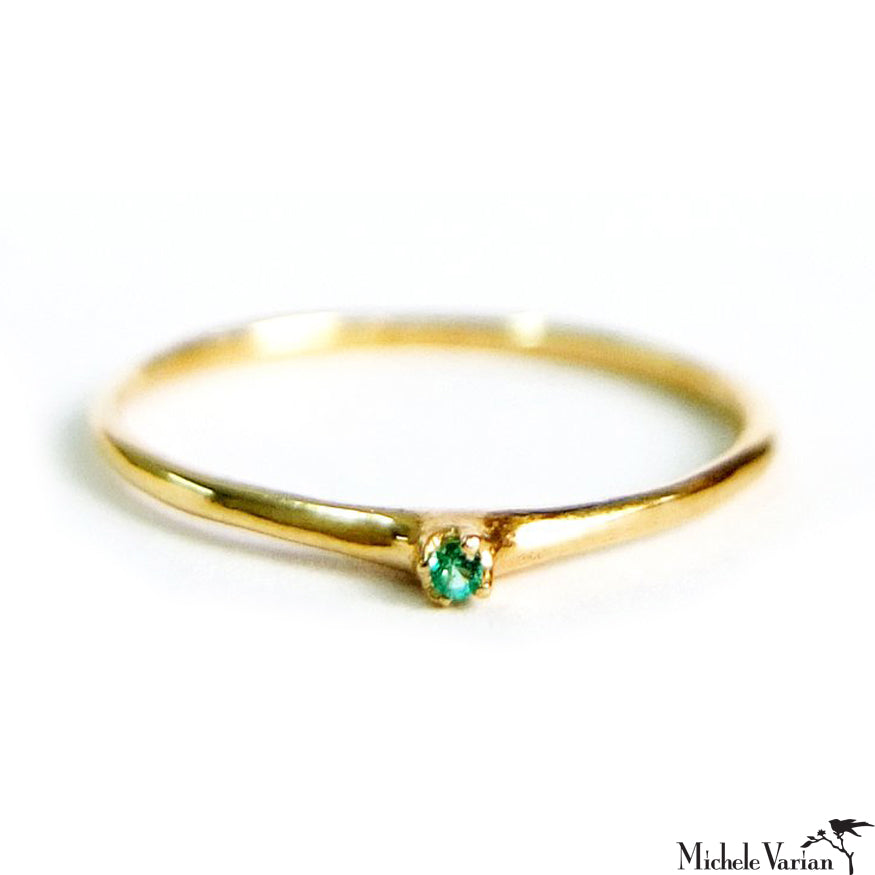 Tiny Emerald Gold Ring