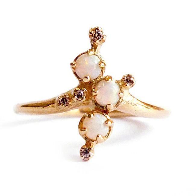 Yellow Gold Opal Champagne Diamond Ring