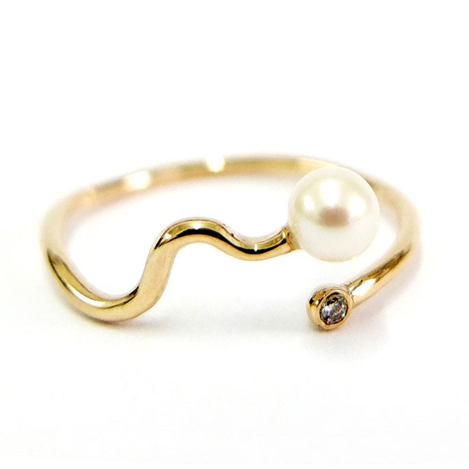 Pearl and Diamond Confetti Ring