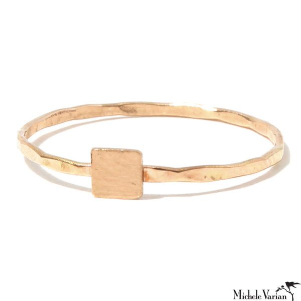 Gold Solid Square Ring