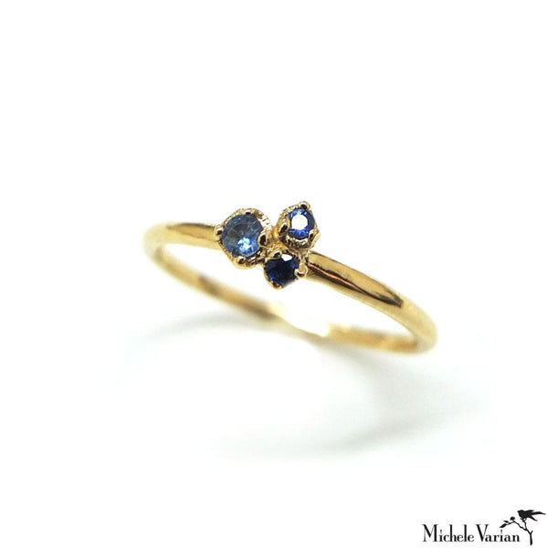 Three Buds Sapphire Gold Ring