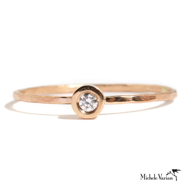 Gold Flush Set Diamond Ring