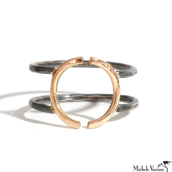 Mixed Metals Open Semicircle Double Ring