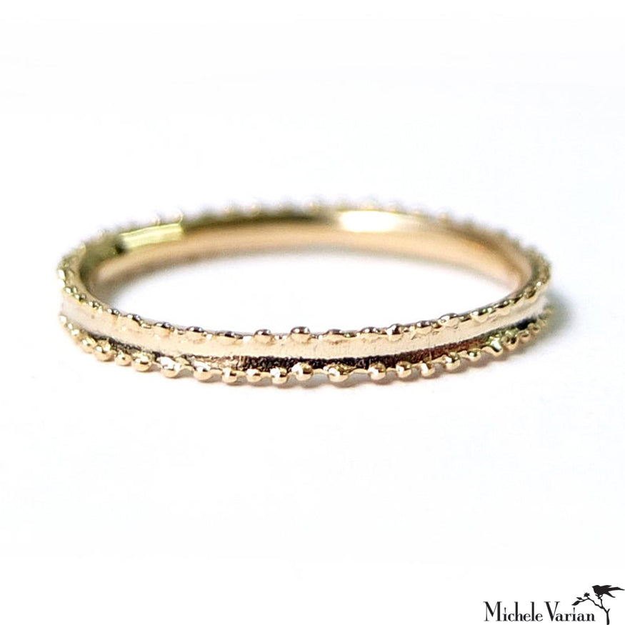Double Dots Concave Gold Band Ring