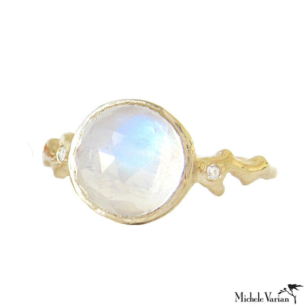 Glowing Light Moonstone Gold Ring