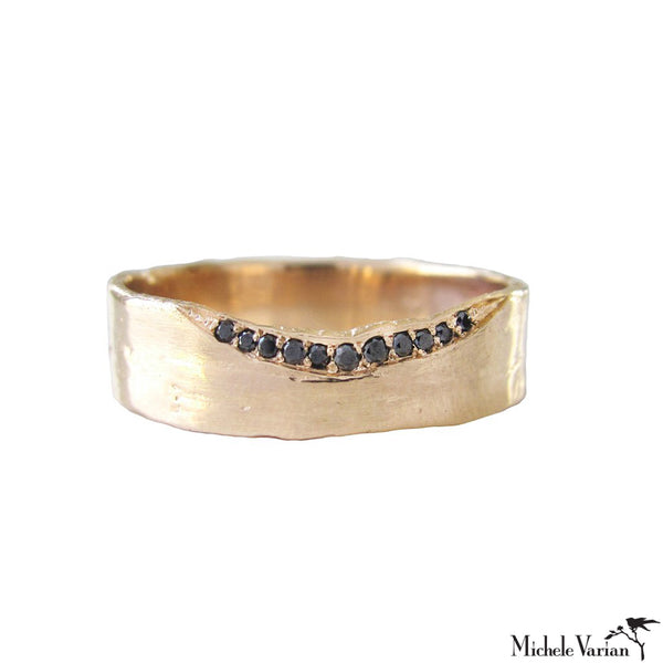 Thick Band Black Diamond Gold  Ring