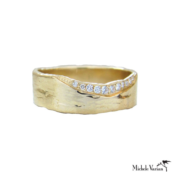 Cigar Band White Diamonds Gold Ring