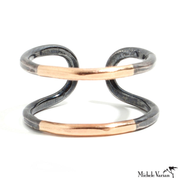 Mixed Metals Adjustable Double Bar Ring