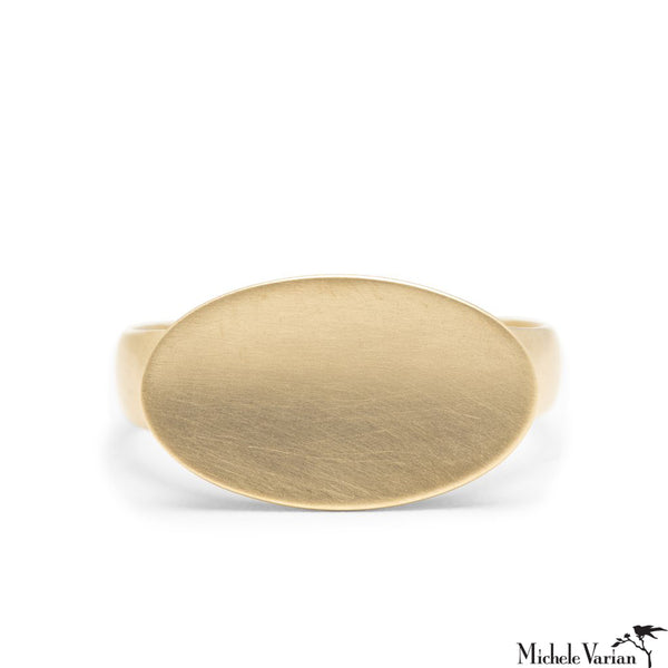 Oval Dish Gold Signet Ring