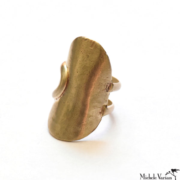 Shield Matte Brushed Brass Ring