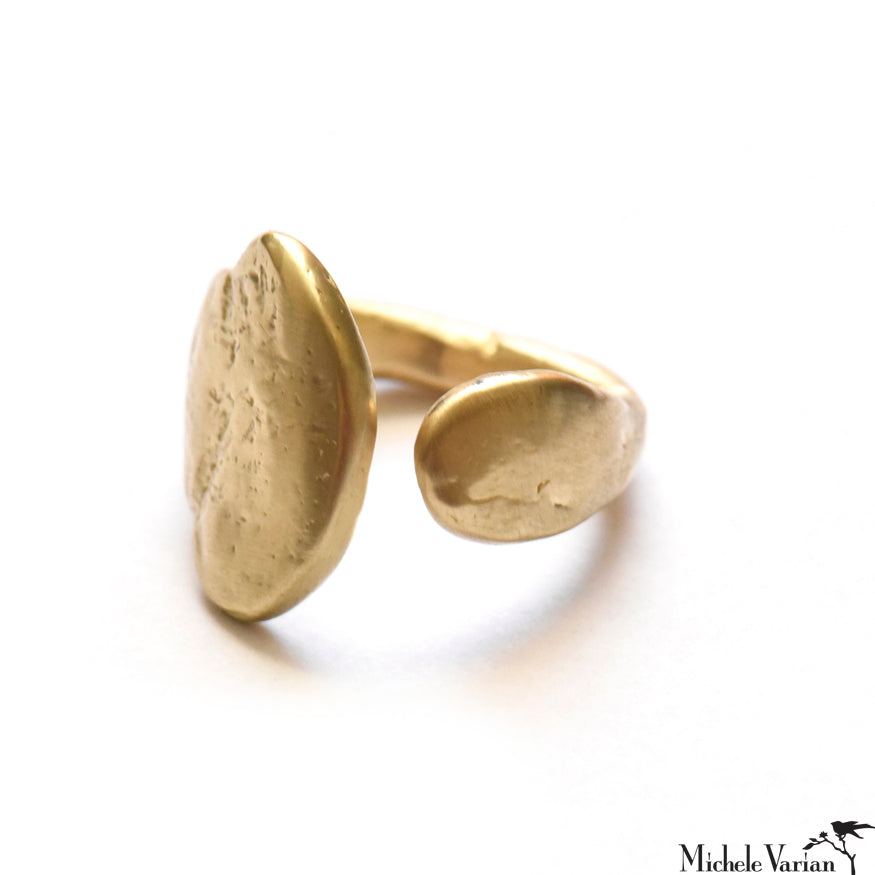 Textured Matte Brushed Brass Ring