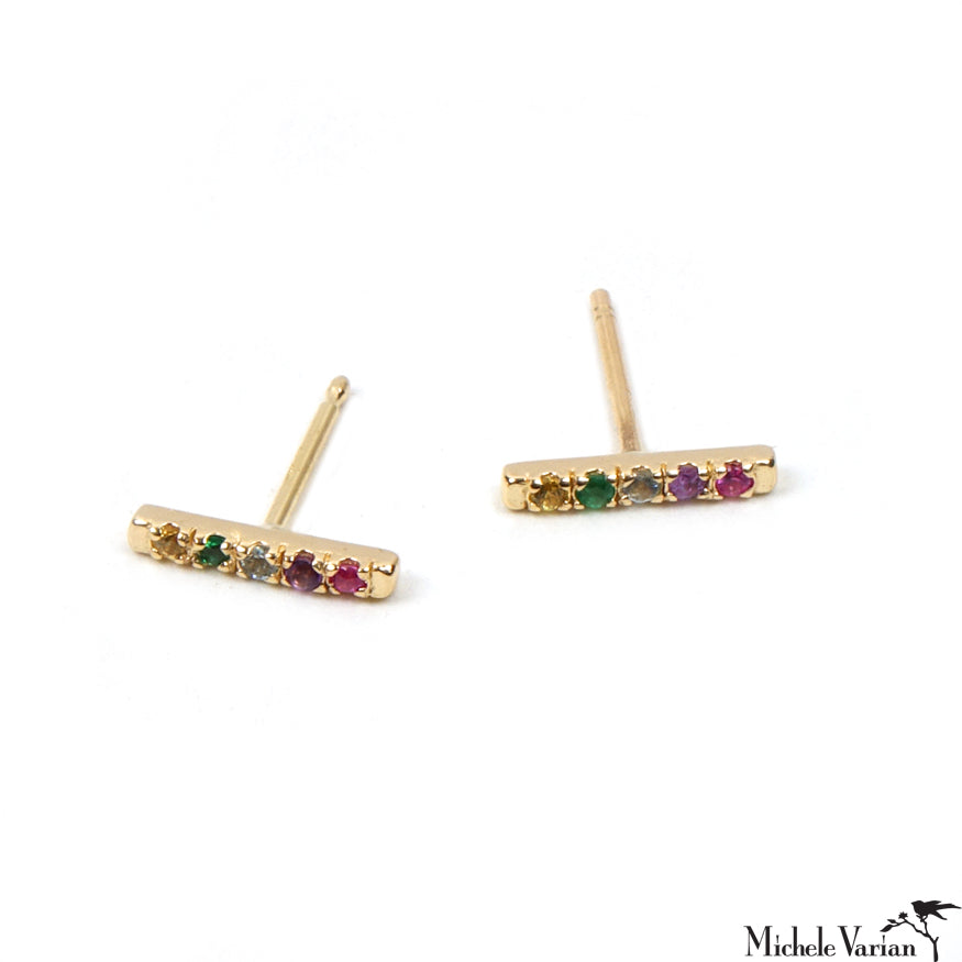 Five Multi Gems Rainbow Gold Stud Earrings