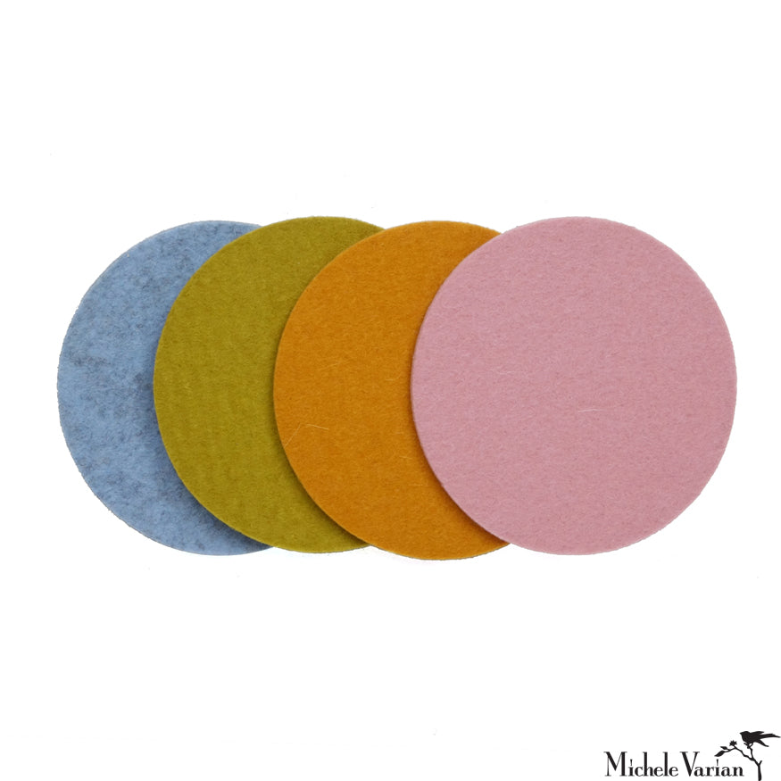 Round Felt Coasters Candy Color Set of 4