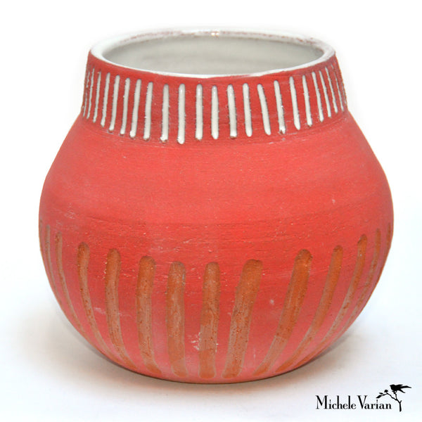 Red Craved Lines Vase