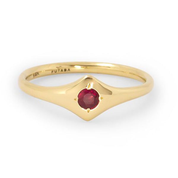 Shield Ring With Ruby