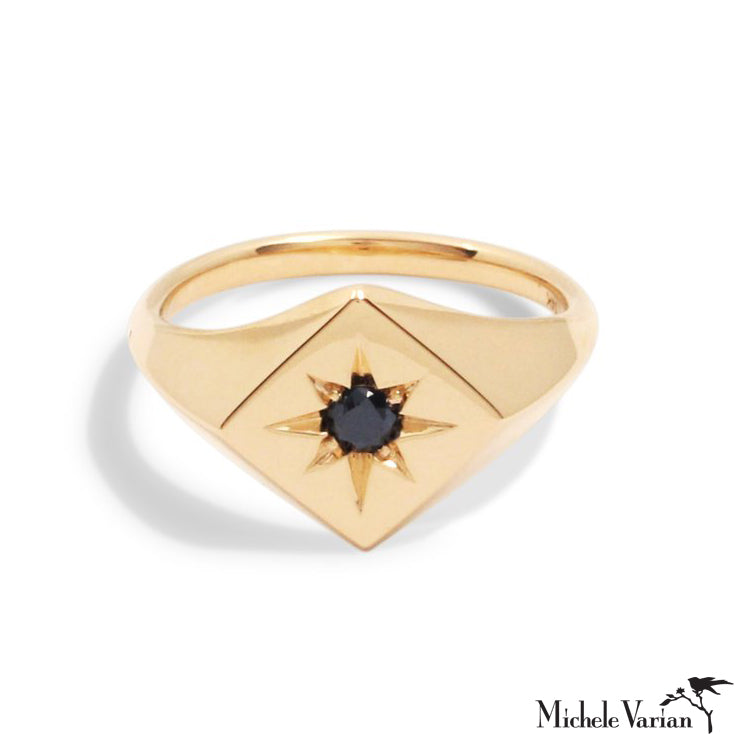 North Star Signet Ring with Black Diamond
