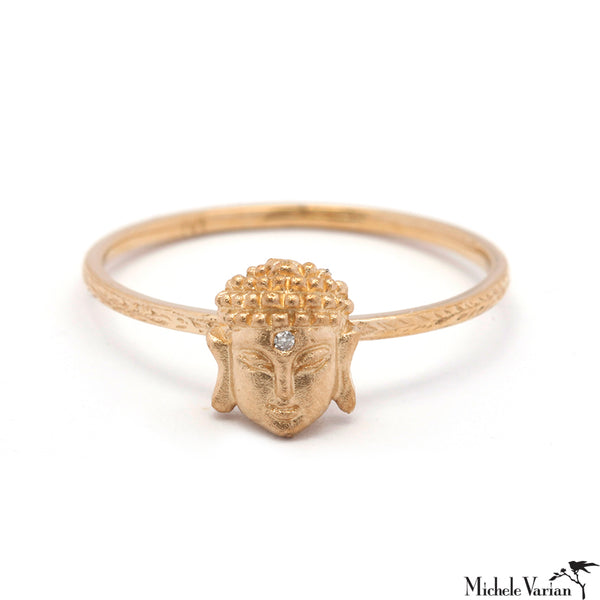 Tiny Buddha Gold and Diamond Ring