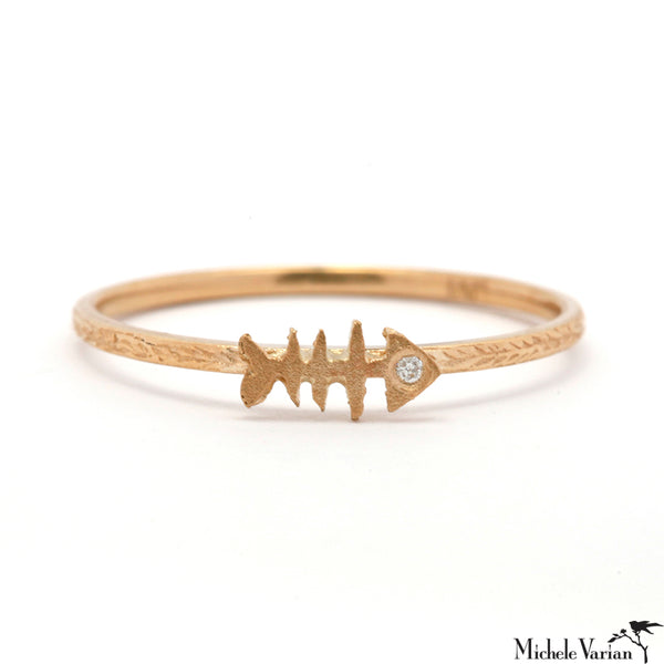 Fishbone Gold and Diamond Ring