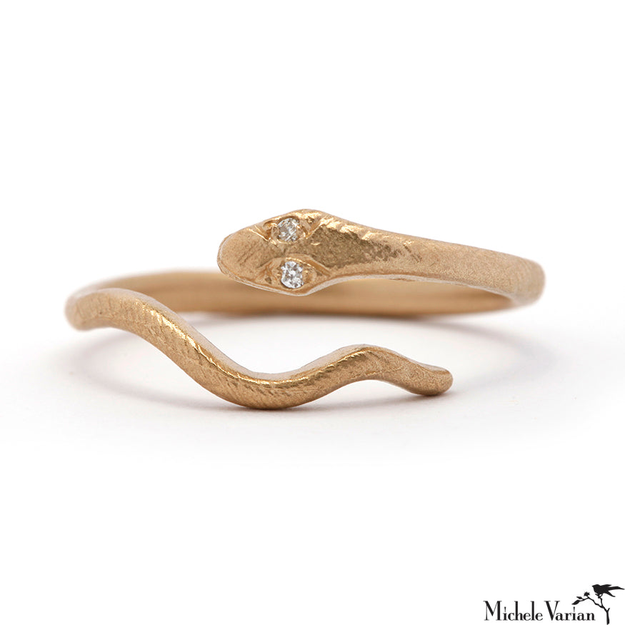 Serpentine Snake Gold and Diamond Ring