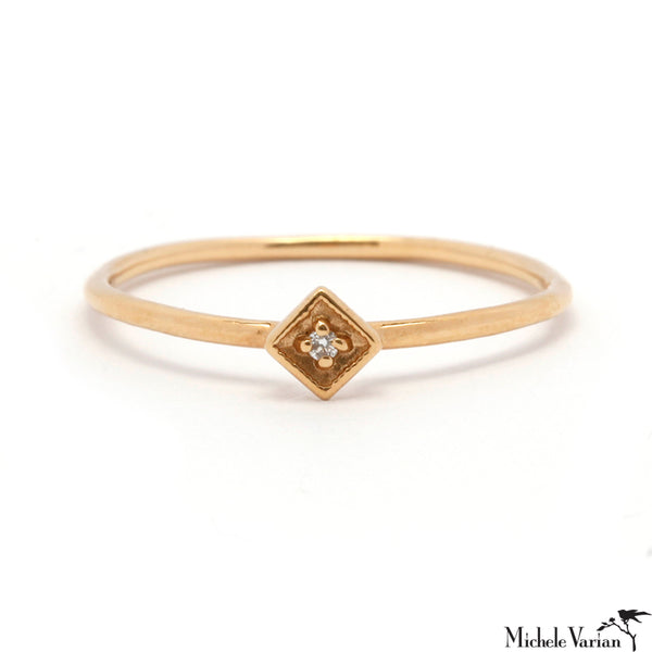 Tiny Accent Diamond and Gold Ring