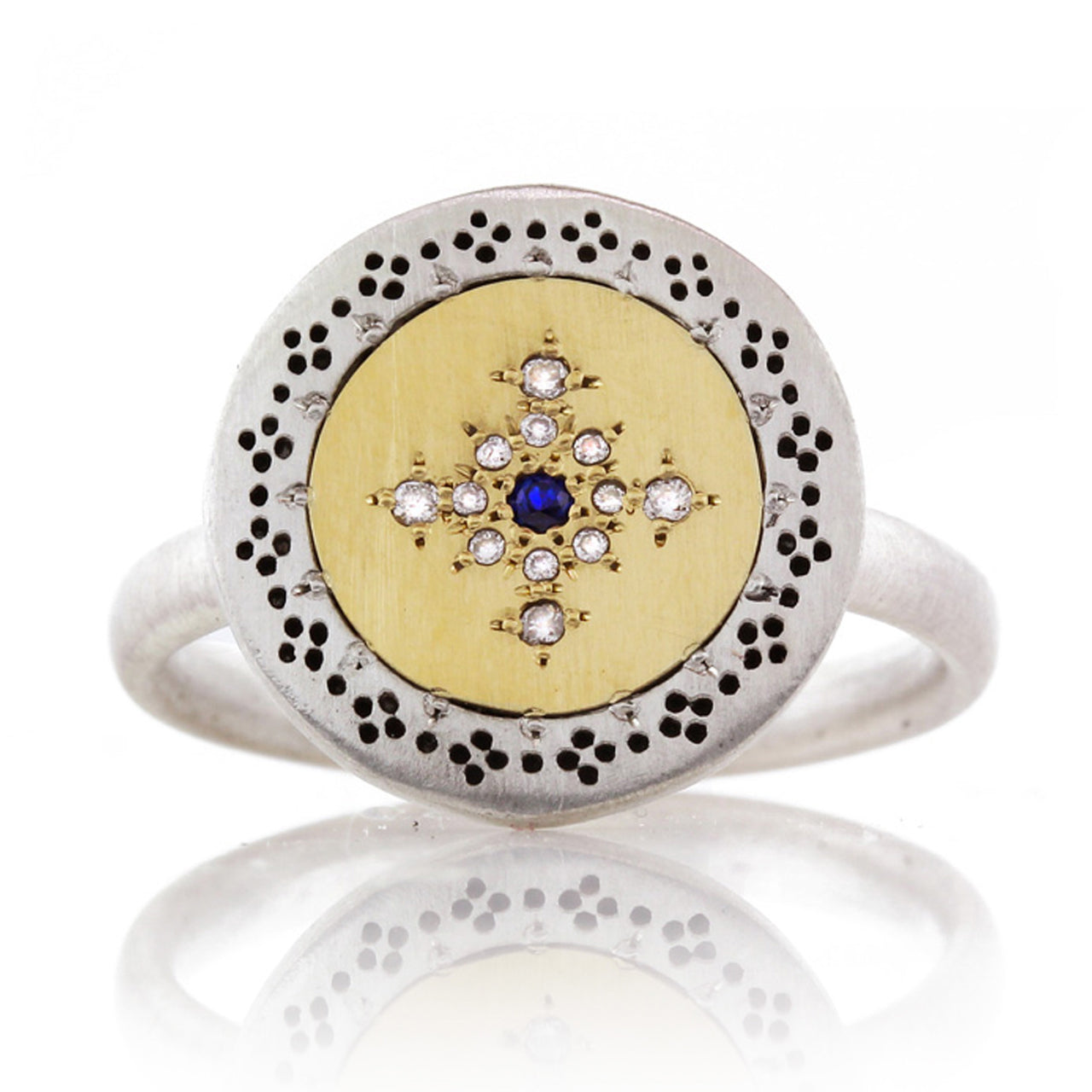 Sapphire and Diamond Disk Ring 14k Gold and Silver