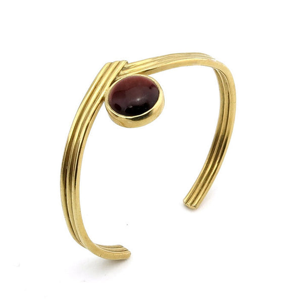 Rising Brass Cuff with Red Tigers Eye Stone