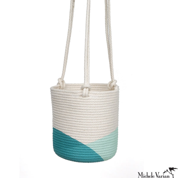 Stitched Cotton Rope Hanging Planter Teal Dip
