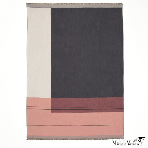 Rose Color Blocked Throw