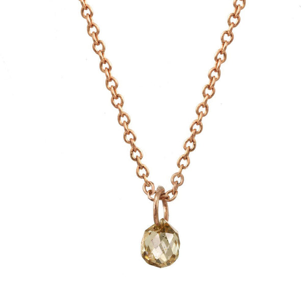 Rose Gold and Champagne Diamond Briolette Necklace