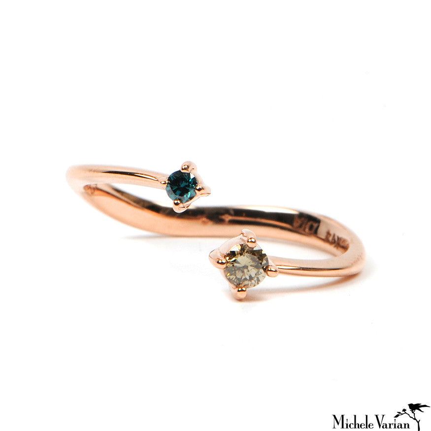 Rose Gold Double Diamond Open Ring