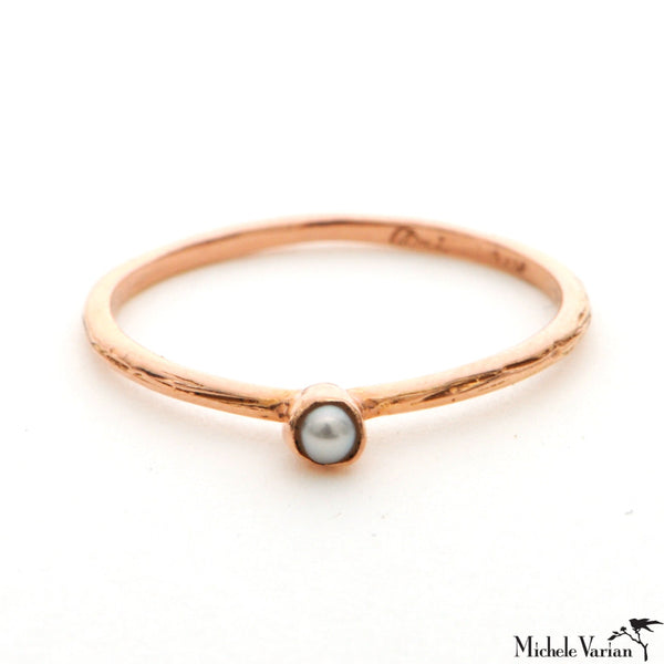 Rose Gold Dainty Pearl Ring